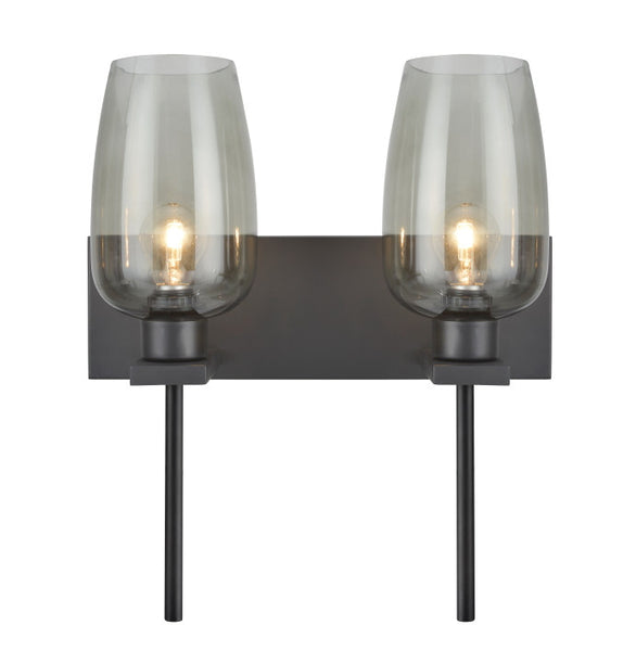 "# 62064-1 2 Light Metal Bathroom Vanity Wall Fixture, 16"" Wide, Transitional Design, Oil Rubbed Bronze, Smoke Glass Shades REGULAR PRICE $146.99 - Now..."