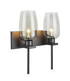 "# 62064-1, Two-Light Metal Bathroom Vanity Wall Light Fixture, 16"" wide, Transitional design in Oil Rubbed Broze with Smoke Glass Shade"