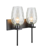 "# 62064-2, Two-Light Metal Bathroom Vanity Wall Light Fixture, 16"" wide, Transitional design in Oil Rubbed Broze with Clear Hammer Glass Shade"