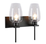 "# 62064-3, Two-Light Metal Bathroom Vanity Wall Light Fixture, 16"" wide, Transitional design in Oil Rubbed Broze with Clear Glass Shade"