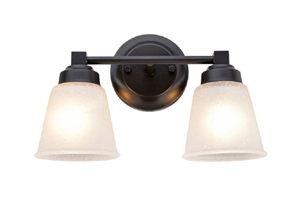 "# 62069-2  2-Light Metal Bathroom Vanity Wall Light Fixture, 13 1/8"" Wide, Transitional Design, Oil Rubbed Bronze with Clear Etched Glass Shades"