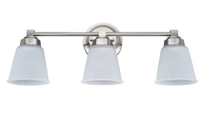 "# 62070-1 3-Light Metal Bathroom Vanity Wall Light Fixture, 21 1/4"" Wide, Transitional Design, Satin Nickel with Clear Etched Glass Shades"