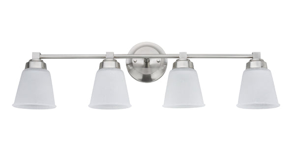 "# 62071-1  4-Light Metal Bathroom Vanity Wall Light Fixture, 30"" Wide, Transitional Design, Satin Nickel with Clear Etched Glass Shades"