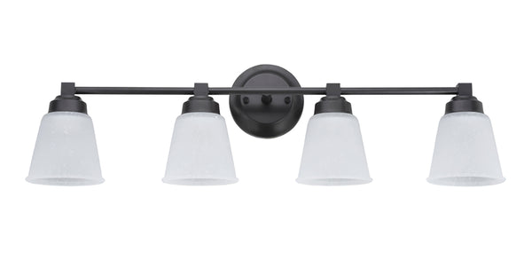 "# 62071-2 4-Light Metal Bathroom Vanity Wall Light Fixture, 30"" Wide, Transitional Design, Oil Rubbed Bronze with Clear Etched Glass Shades"