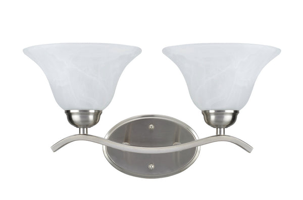"# 62072-1 2 Light Metal Bathroom Vanity Wall Light Fixture, 8 3/4"" Wide, Transitional design in Oil Rubbed Broze with Frosted Glass Shades"