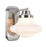 "# 62073 1 Light Metal Bathroom Vanity Wall Light Fixture, 7 1/2"" Wide, Transitional Design in Brushed Nickel with Opal Etched Glass Shade"