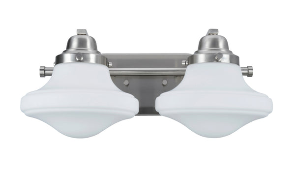 "# 62074 2 Light Metal Bathroom Vanity Wall Light Fixture, 16 1/4"" Wide, Transitional Design in Brushed Nickel with Opal Etched Glass Shade"