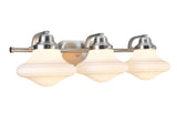 "# 62075 3 Light Metal Bathroom Vanity Wall Light Fixture, 24 1/2"" Wide, Transitional Design in Brushed Nickel with Opal Etched Glass Shade"
