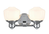 "# 62077 2 Light Metal Bathroom Vanity Wall Light Fixture, 13 1/4"" Wide, Transitional Design in Chrome with Frosted Opal Glass Shade"