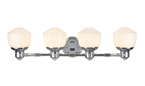 "# 62079 4 Light Metal Bathroom Vanity Wall Light Fixture, 29 1/2"" Wide, Transitional Design in Chrome with Frosted Opal Glass Shade"