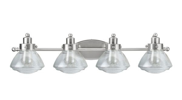 "# 62080-2 4 Light Metal Bathroom Vanity Wall Light Fixture, 33 3/4"" Wide, Transitional Design in Satin Nickel with Clear Seedy Glass Shade"