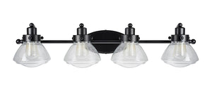 "# 62080 Four-Light Metal Bathroom Vanity Wall Light Fixture, 33 3/4"" Wide, Transitional Design in Black with Clear Seedy Glass Shade"