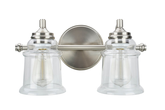 # 62082 Two-Light Metal Bathroom Vanity Wall Light Fixture, 15 1/4