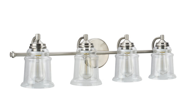 "# 62084 4 Light Metal Bathroom Vanity Wall Light Fixture, 32 1/4"" Wide, Transitional Design in Brushed Nickel with Clear Glass Shade"