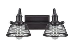 "# 62094 Two-Light Metal Bathroom Vanity Wall Light Fixture, 17"" Wide, Transitional Design in Bronze with Metal Mesh Shade"