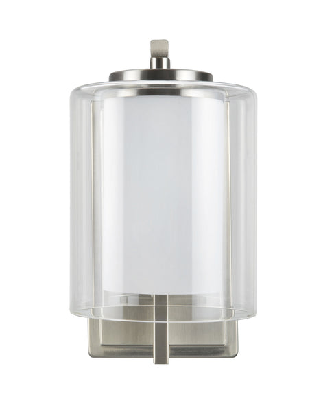 "# 62101 1 Light Metal Bathroom Vanity Wall Light Fixture, 5 1/2"" Wide, Transitional Design in Satin Nickel with Clear Glass Shade"
