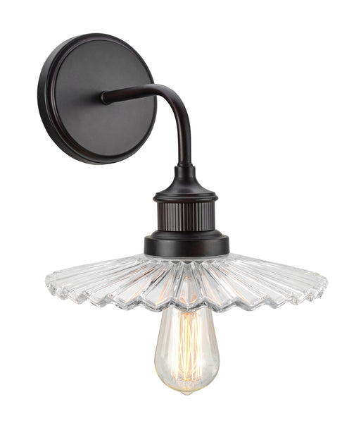 "# 62105 1 Light Metal Bathroom Vanity Wall Light Fixture, 9 1/2"" Wide, Transitional Design in Oil Rubbed Bronze with Clear Glass Shade"