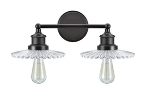 "# 62106 2 Light Metal Bathroom Vanity Wall Light Fixture, 17 3/4"" Wide, Transitional Design in Oil Rubbed Bronze with Clear Glass Shade"