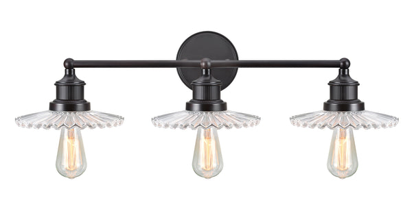"# 62107 3 Light Metal Bathroom Vanity Wall Light Fixture, 38"" Wide, Transitional Design in Oil Rubbed Bronze with Clear Glass Shade"