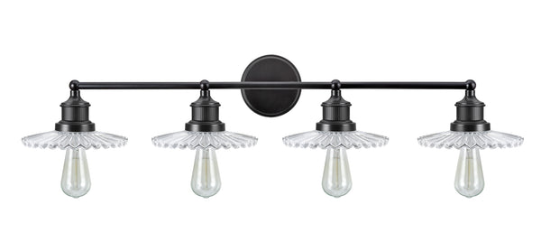 "# 62108 4 Light Metal Bathroom Vanity Wall Light Fixture, 38"" Wide, Transitional Design in Oil Rubbed Bronze with Clear Glass Shade"