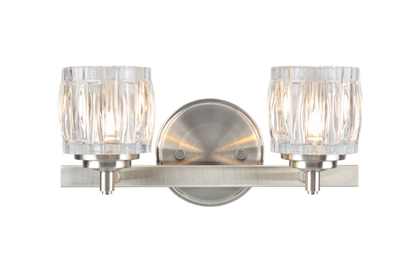# 62110 2 Light Bathroom Vanity Wall Light Fixture, Brushed Nickel