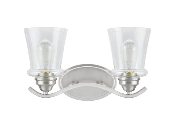 # 62116-1, 2 Light Metal Bathroom Vanity Wall Light Fixture, 15 1/2