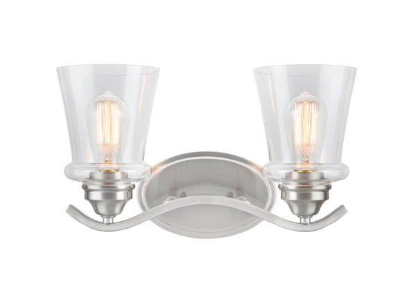 "# 62116-1, 2 Light Metal Bathroom Vanity Wall Light Fixture, 15 1/2"" Wide, Transitional Design in Satin Nickel with Clear Glass Shade"