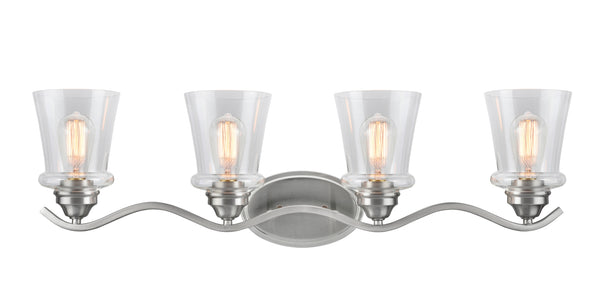 "# 62118-1, 4 Light Metal Bathroom Vanity Wall Light Fixture, 33"" Wide, Transitional Design in Satin Nickel with Clear Glass Shade"