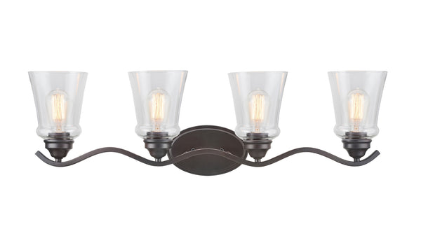 "# 62118-2, 4 Light Metal Bathroom Vanity Wall Light Fixture, 33"" Wide, Transitional Design in Oil Rubbed Bronze with Clear Glass Shade"