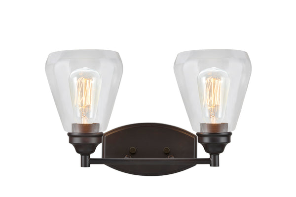 "# 62120-2, 2 Light Metal Bathroom Vanity Wall Light Fixture, 16"" Wide, Transitional Design in Oil Rubbed Bronze with Clear Glass Shade"