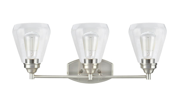 "# 62121-1, 3 Light Metal Bathroom Vanity Wall Light Fixture, 24"" Wide, Transitional Design in Satin Nickel with Clear Glass Shade"