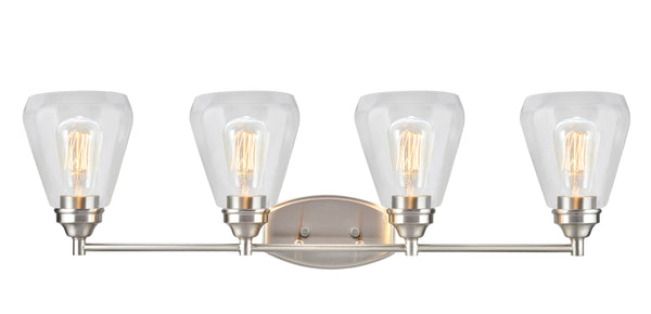 "# 62122-1, 4 Light Metal Bathroom Vanity Wall Light Fixture, 34"" Wide, Transitional Design in Satin Nickel with Clear Glass Shade"
