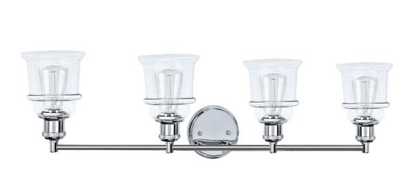 "# 62126, 4 Light Metal Bathroom Vanity Wall Light Fixture, 33"" Wide, Transitional Design in Chrome with Clear Glass Shade"