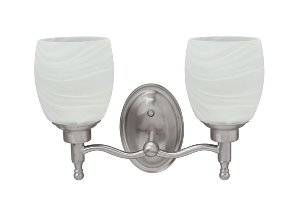 "# 62128 Two-Light Metal Bathroom Vanity Wall Light Fixture, 13"" Wide, Transitional Design in Brushed Nickel with Alabaster Glass Shade"