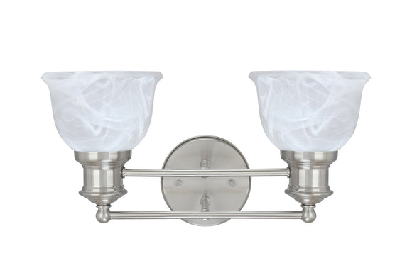 # 62138 Two-Light Metal Bathroom Vanity Wall Light Fixture, 15 1/2