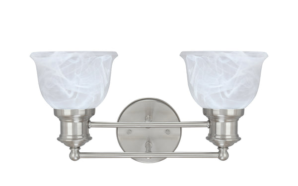 "# 62138 2 Light Metal Bathroom Vanity Wall Light Fixture, 15 1/2"" Wide, Transitional Design in Brushed Nickel with Faux Alabaster Glass Shade"