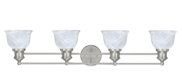 "# 62140 4 Light Metal Bathroom Vanity Wall Light Fixture, 35"" Wide, Transitional Design in Brushed Nickel with Faux Alabaster Glass Shade"
