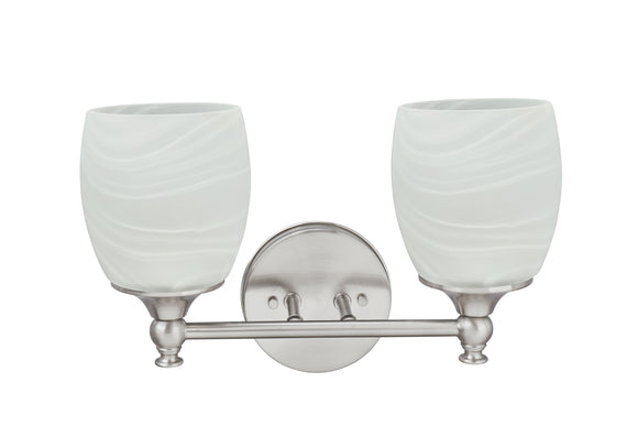 # 62142, Two-Light Metal Bathroom Vanity Wall Light Fixture, 13