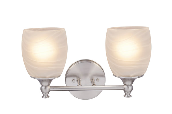"# 62142, Two-Light Metal Bathroom Vanity Wall Light Fixture, 13"" Wide, Transitional Design in Brushed Nickel with Faux Alabaster Glass Shade"