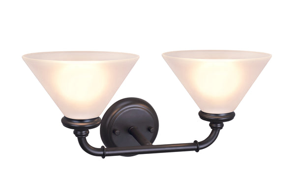 "# 62146, Two-Light Metal Bathroom Vanity Wall Light Fixture, 6-1/2"" Wide, Transitional Design in Oil Rubbed Bronze with Frosted Glass Shade"