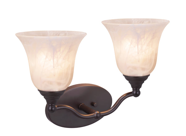 "# 62150, Two-Light Metal Bathroom Vanity Wall Light Fixture, 14"" Wide, Transitional Design in Oil Rubbed Bronze with Frosted Glass Shade"