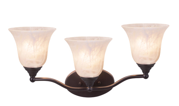 "# 62151, Three-Light Metal Bathroom Vanity Wall Light Fixture, 20-1/2"" Wide, Transitional Design in Oil Rubbed Bronze with Frosted Glass Shade"