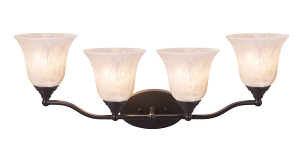 "# 62152, Four-Light Metal Bathroom Vanity Wall Light Fixture, 28"" Wide, Transitional Design in Oil Rubbed Bronze with Frosted Glass Shade"