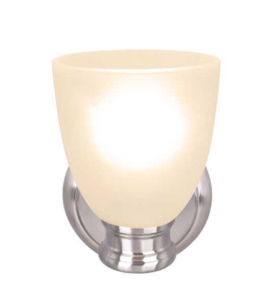 "# 62153, One-Light Metal Bathroom Vanity Wall Light Fixture, 5-1/2"" Wide, Transitional Design in Satin Nickel with Frosted Glass Shade"