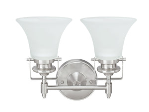 "# 62158, Two-Light Metal Bathroom Vanity Wall Light Fixture, 13-1/2"" Wide, Transitional Design in Brushed Nickel"