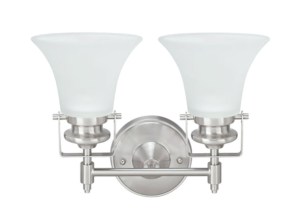 # 62158, Two-Light Metal Bathroom Vanity Wall Light Fixture, 13-1/2