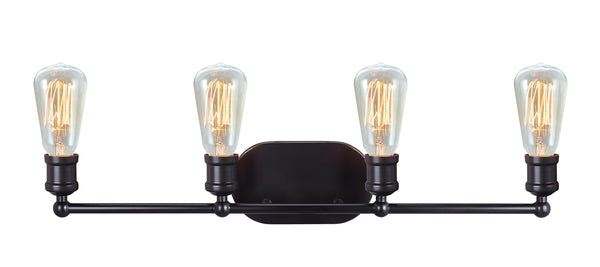 "# 62168, Four-Light Metal Bathroom Vanity Wall Light Fixture, 27-5/8"" Wide, Transitional Design in Oil Rubbed Bronze"