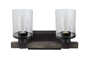 "# 62187, Two-Light Metal Bathroom Vanity Wall Light Fixture, 14"" Wide, Transitional Design in Oil Rubbed Bronze"