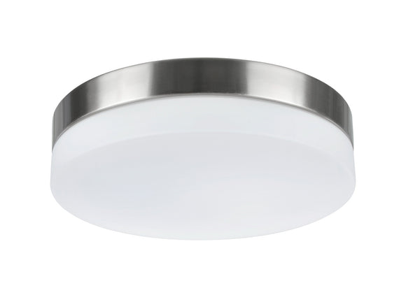# 63002L-1 LED Large Flush Mount Ceiling Light Fixture, Contemporary Design in Satin Nickel Finish, Frosted Glass Diffuser, 11
