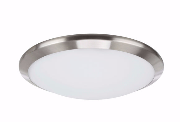 # 63003S-1 LED Small Flush Mount Ceiling Light Fixture, Contemporary Design, Satin Nickel Finish, Frosted Glass Diffuser, 12
